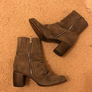 Jeffrey Campbell Ruched Gray Suede Booties